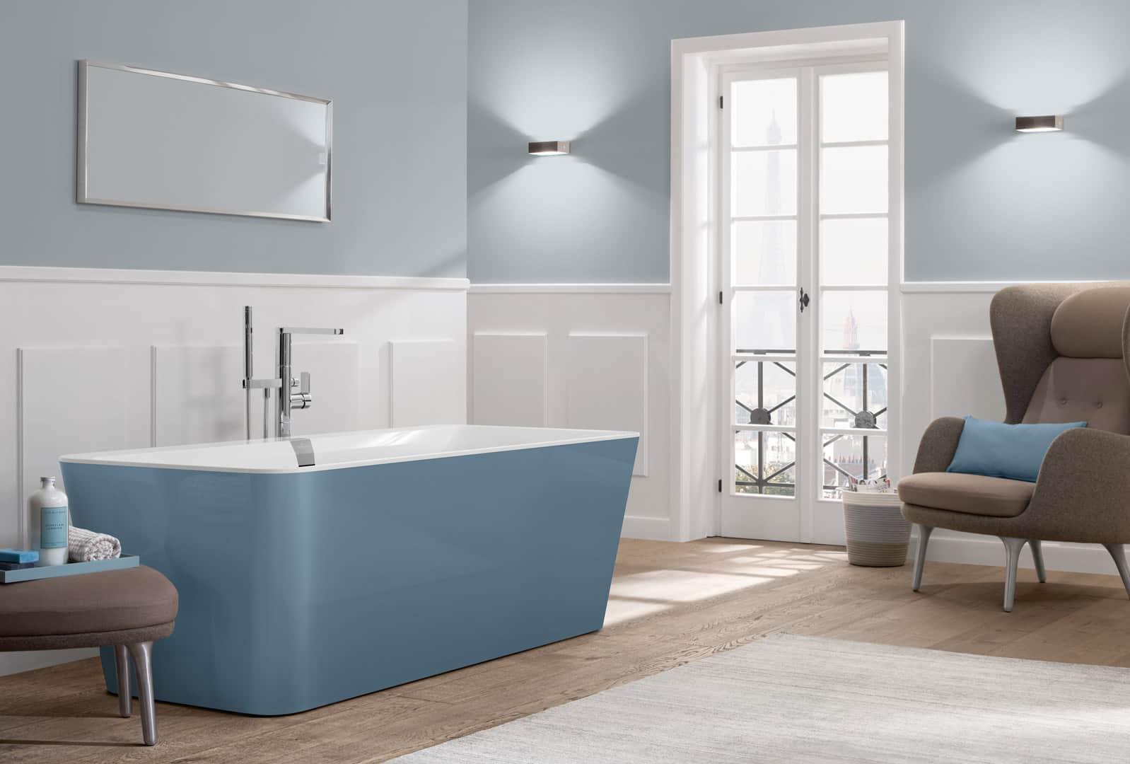 Freistehende Badewanne blaugrau